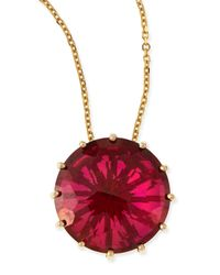KALAN by Suzanne Kalan | Metallic 12mm Round Red Crimson Topaz Pendant Necklace | Lyst