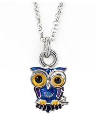 Jan Leslie | Blue Winking Owl Pendant / Charm Necklace | Lyst