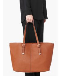 Mango | Brown Pebbled Shopper Bag | Lyst