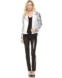 Versace | White Leather Motorcycle Jacket | Lyst