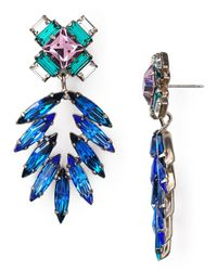DANNIJO - Blue Simon Multi-Crystal Statement Earrings - Lyst
