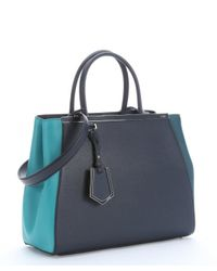 Fendi - Teal And Dark Blue Leather '2jours' Convertible Tote Bag - Lyst