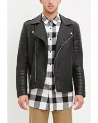 Forever 21 | Black Quilted Faux Leather Jacket for Men | Lyst