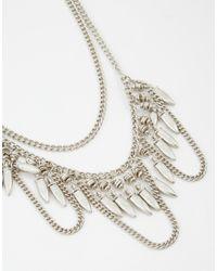 Pieces - Metallic Erica Multichain Necklace - Lyst