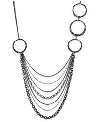 ABS By Allen Schwartz - Black Hematite-tone Crystal Swag Long Necklace Necklace - Lyst