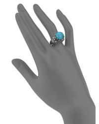 Konstantino - Blue Hermione Turquoise, 18K Yellow Gold & Sterling Silver Large Bezel Ring - Lyst