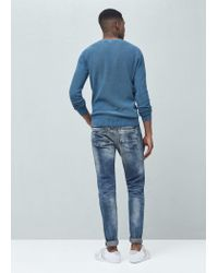 Mango - Blue Round Neck Sweater for Men - Lyst