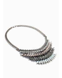 Mango - Metallic Rhinestone Crystal Necklace - Lyst