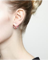 Yvonne Léon - Red 18kt Gold And Marquise Ruby Lobe Earring - Lyst