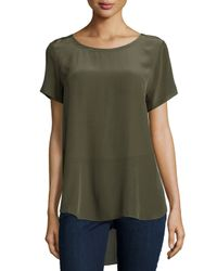 Eileen Fisher - Green Short-sleeve Silk High-low Top - Lyst