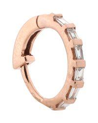 Stone | Women's Baguette Diamond & Pink Gold Hoop Earring | Lyst