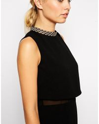 ASOS | Black Tall Embellished Stand Collar Dress | Lyst