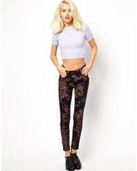 Just Female   Black Skinny Jeans in Paisley Print   Lyst