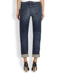 Citizens of Humanity - Blue Phoebe Cropped Boyfriend Jeans - Lyst