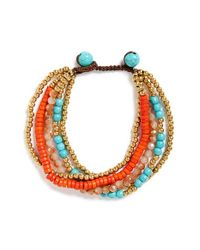 Panacea | Orange Multistrand Beaded Bracelet | Lyst