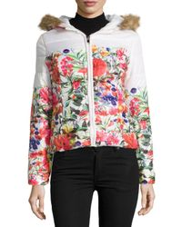 John + Jenn - White Floral Puffer Jacket W/faux-fur Trim - Lyst