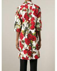 Dolce & Gabbana - White Rose Coat - Lyst