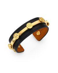 Tory Burch - Black Leather Logo Cuff Bracelet - Lyst