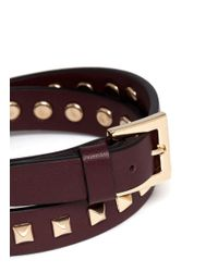 Valentino | Red Rockstud Double Wrap Leather Bracelet for Men | Lyst