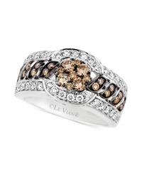 Le Vian | White and Chocolate Diamond Cluster Ring in 14k White Gold 115 Ct Tw | Lyst