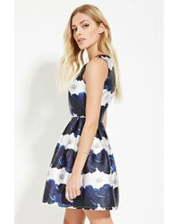Lyst Forever 21 Contemporary Floral Pleat Dress In Blue