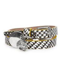 Alexander McQueen - Metallic Checked Skull Leather Wrap Bracelet for Men - Lyst