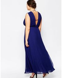 ASOS | Blue Wedding Maxi Dress With Deep Plunge | Lyst