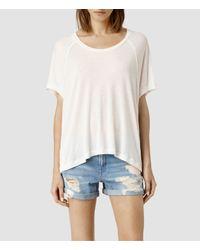 AllSaints - White Tri Top - Lyst