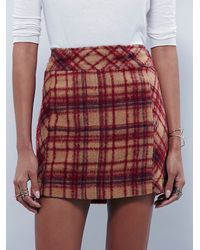 Free People - Red Zip It Plaid Mini - Lyst