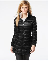 Laundry by Shelli Segal | Black Reversible Down Packable Puffer Coat | Lyst