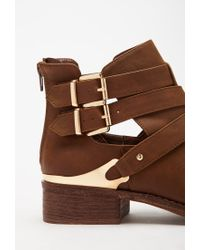 Forever 21 - Brown Buckled Cutout Faux Leather Booties - Lyst