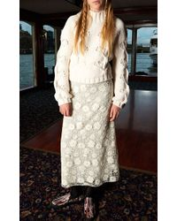 Giamba | White Floral Wool And Organza Long Skirt | Lyst