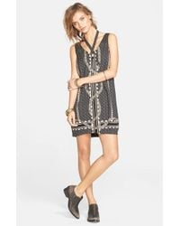 Free People | Black 'Diamonds & Snakes' Shift Dress | Lyst