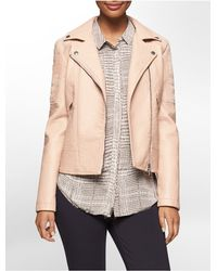 Calvin Klein - Natural Jeans Textured Faux Leather Moto Jacket - Lyst