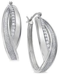 Macy's - Metallic Diamond Twist Overlap Glitter Hoop Earrings (1/4 Ct. T.w.) In Sterling Silver - Lyst