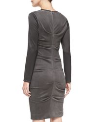Nicole Miller Artelier - Gray Long-sleeve Ruched Faux-suede Dress - Lyst
