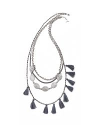 Serefina | Metallic Tassel Layer Necklace - Silver/charcoal | Lyst