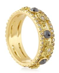 Armenta | Metallic Sueno Yellow Gold Band Ring With Diamonds | Lyst