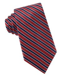 Michael Kors | Red Double-ribbed Striped Woven Silk Tie for Men | Lyst