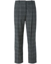 Michael Kors - Gray Cropped Checked Trousers - Lyst