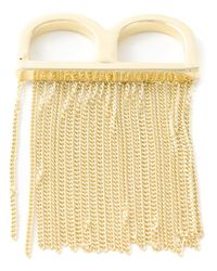MM6 by Maison Martin Margiela | Metallic Fringed Double Ring | Lyst
