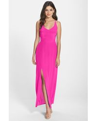 Charlie Jade | Pink Strappy Back Silk Maxi Dress | Lyst