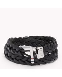 Tommy Hilfiger | Black Tommy Leather Bracelet for Men | Lyst