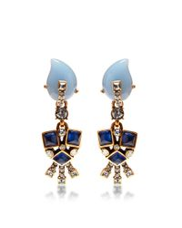 Oscar de la Renta | Blue Resin Flower Earrings | Lyst