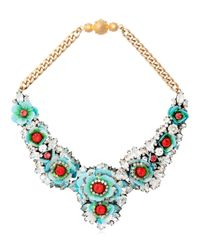Shourouk | Blue Apolonia Gold-tone, Crystal And Sequin Necklace | Lyst