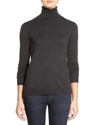 Lauren by Ralph Lauren - Gray Silk & Cotton Turtleneck Sweater - Lyst