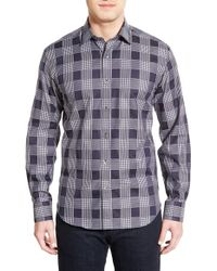 Bugatchi - Blue Shaped Fit Plaid Sport Shirt for Men - Lyst