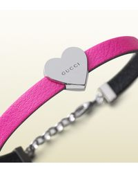 Gucci - Kid's Bracelet In Pink Leather With Sterling Silver Heart - Lyst