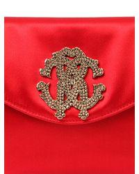 Roberto Cavalli - Red Silk Satin Clutch With Logo - Lyst