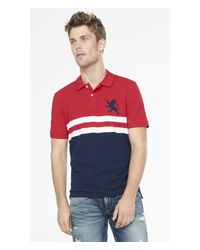 Express | Engineered Stripe Pique Polo for Men | Lyst